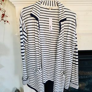 NWT LA made Navy and White Striped Cardigan, Sz S